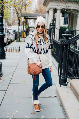 katie's bliss - a personal style blog based in nyc blogger shoes cardigan jeans bag hat jewels make-up winter outfits beanie christmas sweater shoulder bag boots