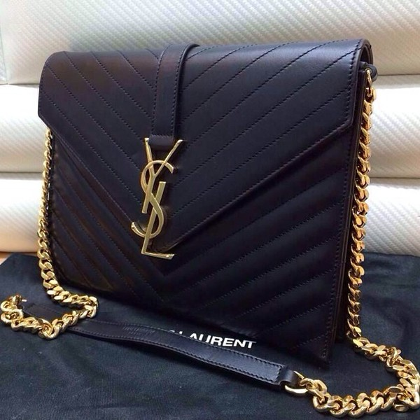 Saint Laurent Large Monogramme Chain Bag In Black