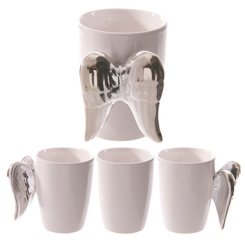 Silver angel / fairy wings novelty ceramic mug / cup great gift idea