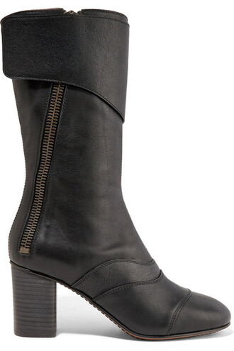 boots leather boots leather black shoes