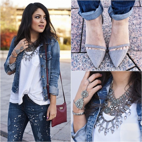 cool women shoes fashion jacket denim denim jacket necklace bracelets pants jeans sandals metal bag brand biker jacket tshirt jewels