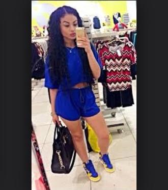 shorts blue shirt blue shorts blouse outfit royal blue 2-piece 2 piece outfit top