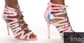 shoes rainbow heels caged heels