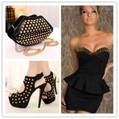 dress,little black dress,studs,strapless