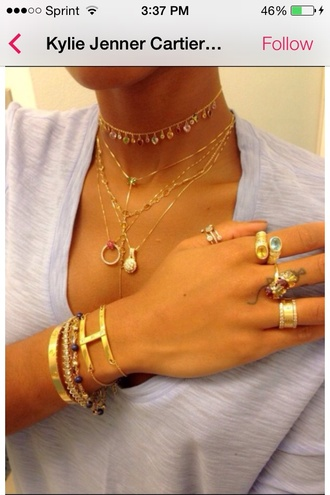 jewels gold kylie jenner kendall jenner cartier bracelets necklace