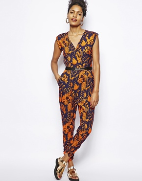 River Island | River Island Leaf Print Jumpsuit at ASOS