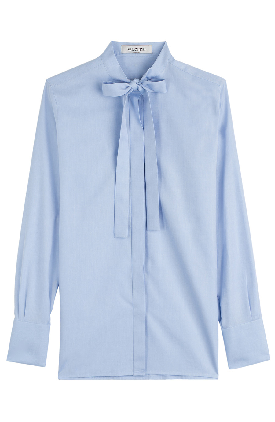 Cotton poplin blouse with pussy bow