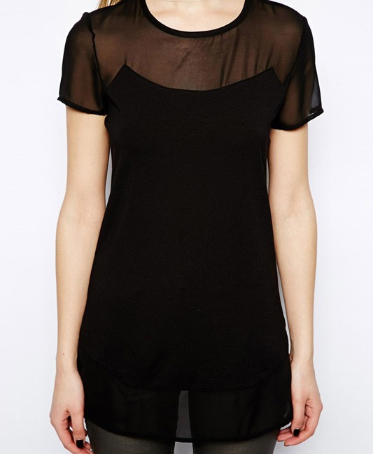 See Through Short Sleeves Chiffon Black T-shirt