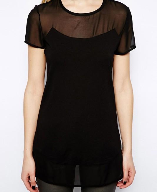 See Through Short Sleeves Chiffon Black T-shirt