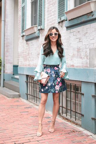 extra petite blogger skirt blouse bag shoes sunglasses ysl bag bell sleeves floral skirt high heel sandals summer outfits tumblr mini skirt floral top blue top mint sandals sandal heels