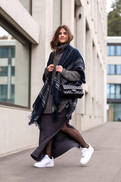 the fashion fraction blogger oversized turtleneck sweater blanket scarf slit skirt white sneakers athleisure sporty chic