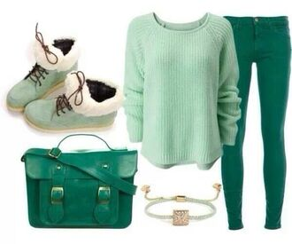 shoes jewels bag sweater pants brasletes