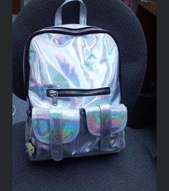 bag metallic backpack holographic