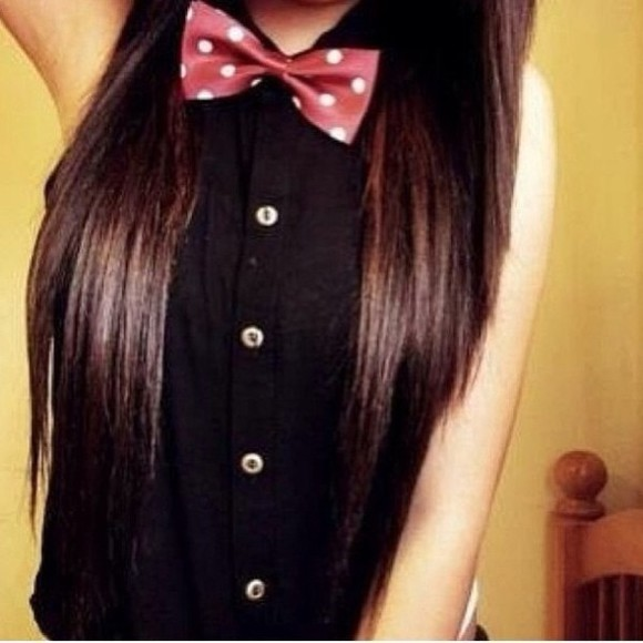 blouse black blouse mickey mouse bow tie