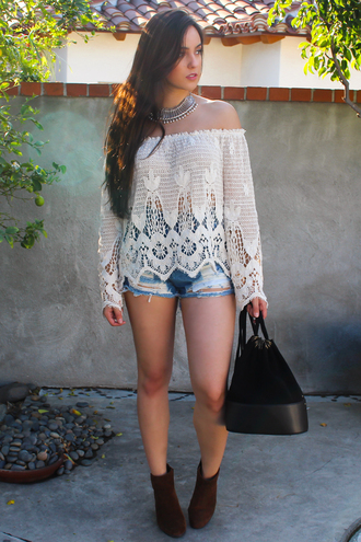 top off the shoulder crochet coachella lace crochet top bohemian boho boho chic festival high waisted shorts jewelry bellsleeve top indie cute girly outfit summer outfits spring spring outfits tumblr outfit