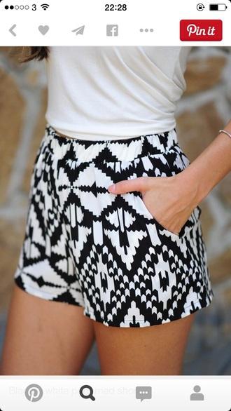 shorts black and white shorts summer shorts