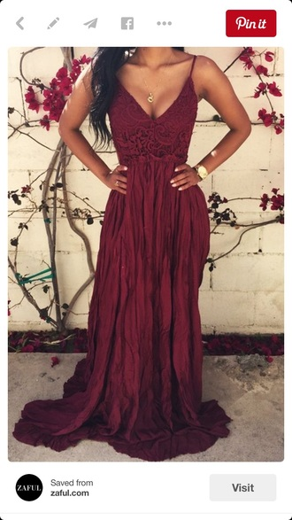 dress burgundy dress long dress boho