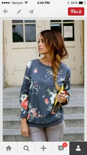 sweater,tumblr,hipster,floral,navy,sweatshirt