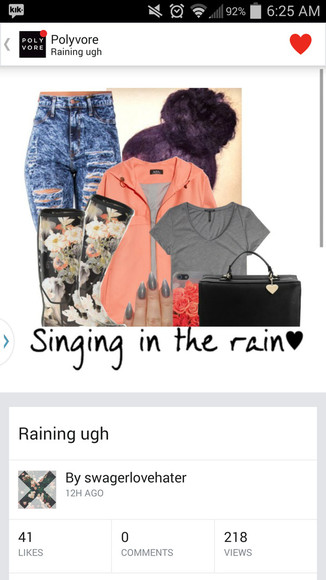 raincoat floral boots rainboots high waisted jeans dark wash jeans messy hair lazy day grey shirt purse