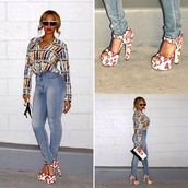 blouse,beyonce,style,fashion,shoes,sandals,sunglasses,jeans,dior sunglasses,high waisted,high waisted jeans,shows curves