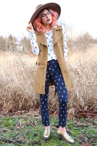 xander vintage blogger blouse coat printed pants gold shoes