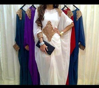 dress oriental white dress gold dress arabic style kaftan jalabiya