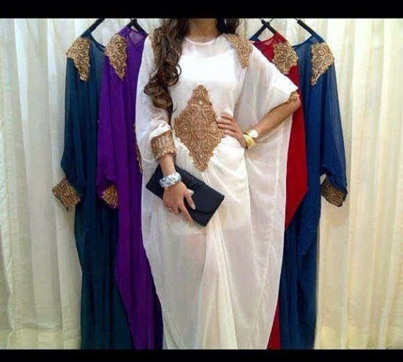 arabic style dress oriental white dress golden dress