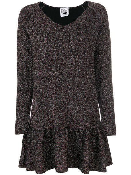 Twin-Set dress metallic women cotton knit grey