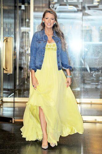 dress yellow yellow dress pumps jacket denim jacket blake lively maxi dress yellow summer dress