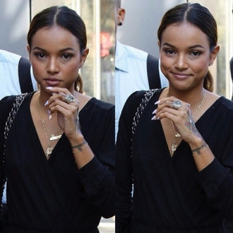 jumpsuit ring earrings necklace bracelets karrueche