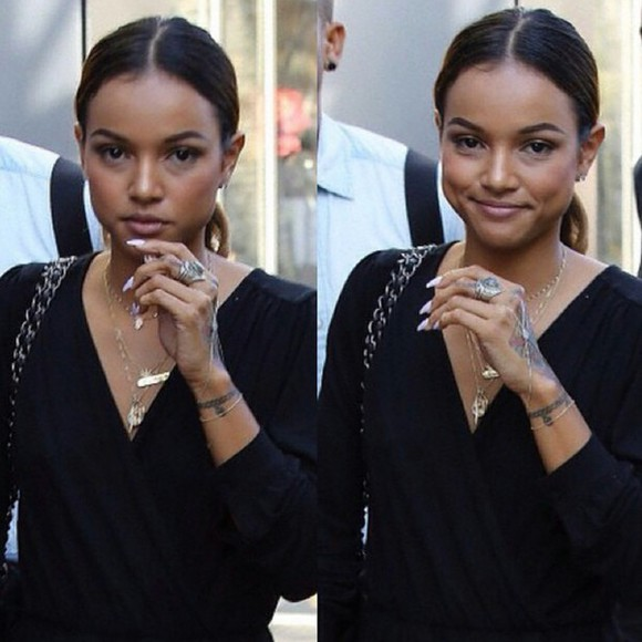earrings necklace jumpsuit ring bracelets karrueche