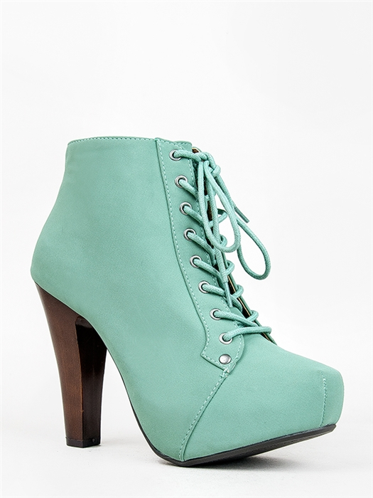 New Qupid Women Lace Up Wooden Heel Ankle Boot Booty Green Mint Sz Sage PUFFIN06 | eBay