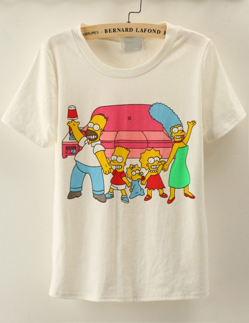 White Short Sleeve The Simpsons Print T-Shirt