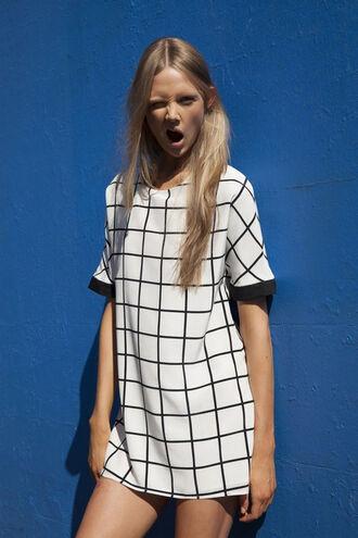 dress black white check monochrome tumblr