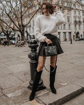 bag,black bag,black boots,leather bag,black skirt,white sweater