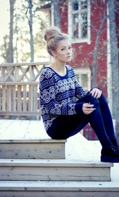 sweater,blue,white,winter outfits,snowflake,cute,clothes,fair isle,winter sweater,longarm,girl,patten,a dark blue sweater with patterns,long