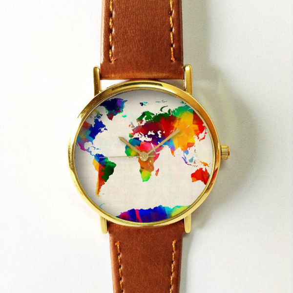 Digital colored world map watch leather watch women watches digital colored world map watch leather watch women watches boyfriend watch mens watch vintage style watch silver gold rose gumiabroncs Image collections