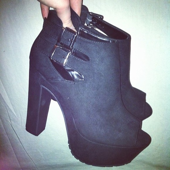 shoes black buckles high heels stylish, suede