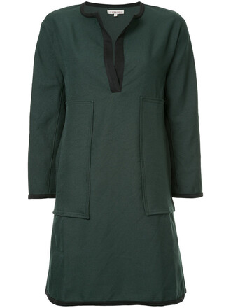 dress shift dress open women green