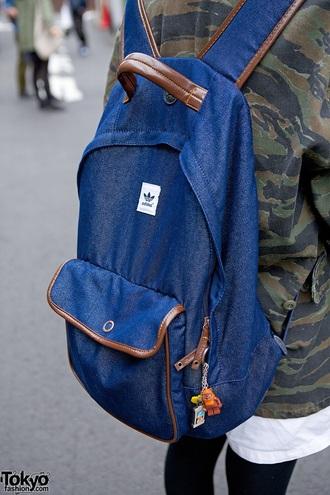 bag blue denim rucksack fashion adidas brand tumblr denim backpack backpack