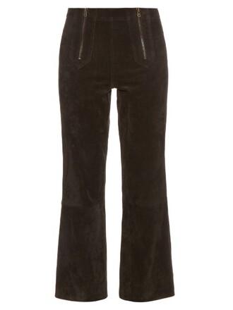 cropped arrow suede black pants