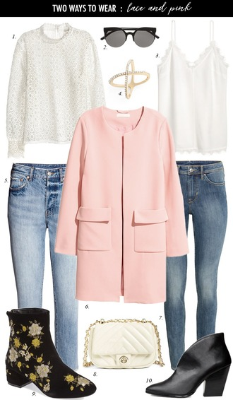 dailystylefinds blogger blouse sunglasses tank top jewels jeans coat bag shoes pink coat skinny jeans ankle boots