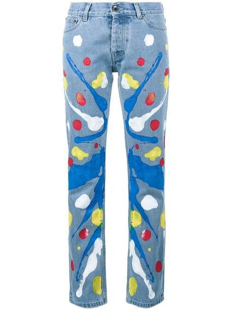 Mirco Gaspari - Blue 501 paint splattered jeans - women - Cotton - 30, Cotton