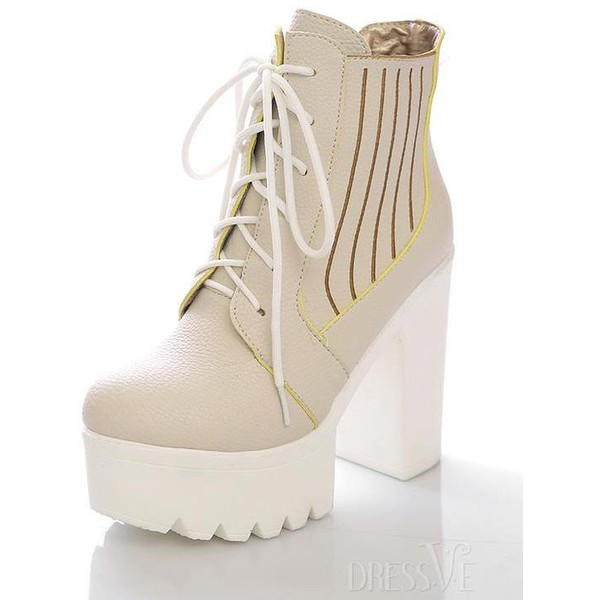 Multi-colour Lace-up Platfrom Chunky Heel Boot