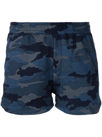 shorts women camouflage cotton print blue