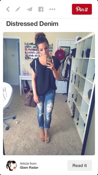 shirt off the shoulder grey jeans holes denim fall outfits cute style top