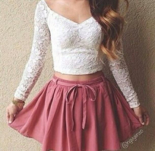blouse fashion white crop tops white t-shirt white top floral t shirt skirt