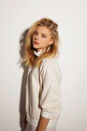 top,chloe grace moretz,celebrities in white,celebrity,sweatshirt,white top,turtleneck
