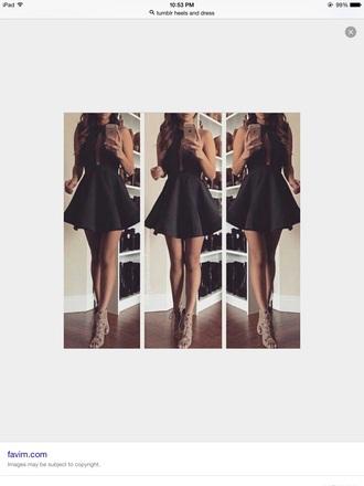 dress black skater chest whole short black dress
