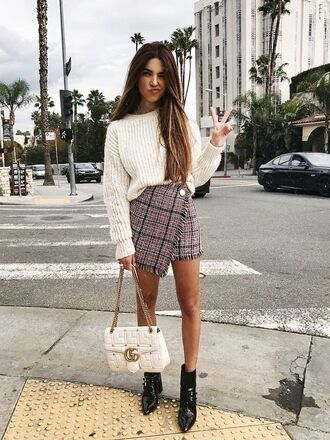 skirt plaid skirt white sweater asymmetrical asymmetrical skirt plaid plaid mini skirt sweater boots ankle boots bag white bag